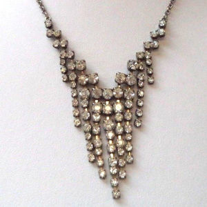 rhinestone tiered necklace on silver chain